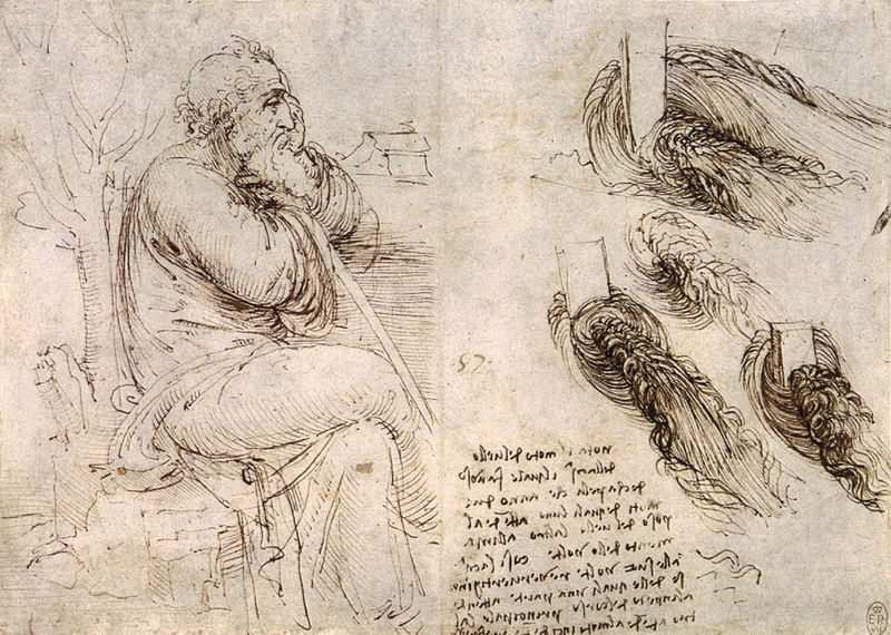 old man with water studies, leonardo da vinci çizimleri