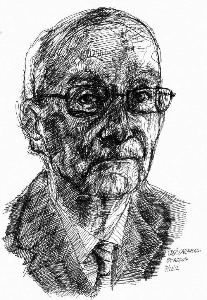 Jose Saramago karakalem çizim Arturo