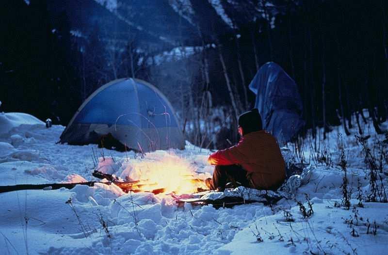 kışın kamp yapmak kamp ateşi