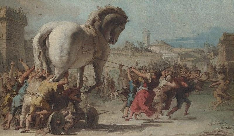 Giovanni Domenico Tiepolo, The Procession of the Trojan Horse in Troy