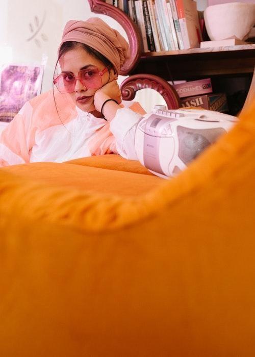 woman pink orange
