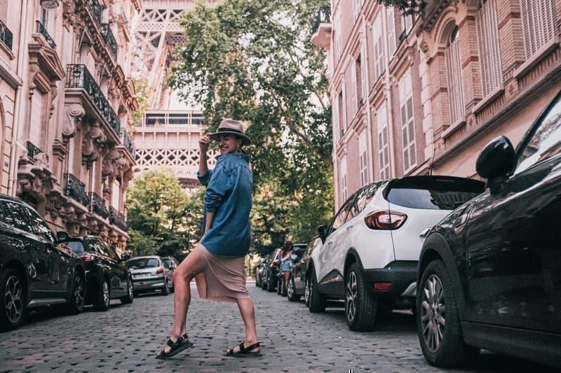 parisian parizyen in denim jacket and hat