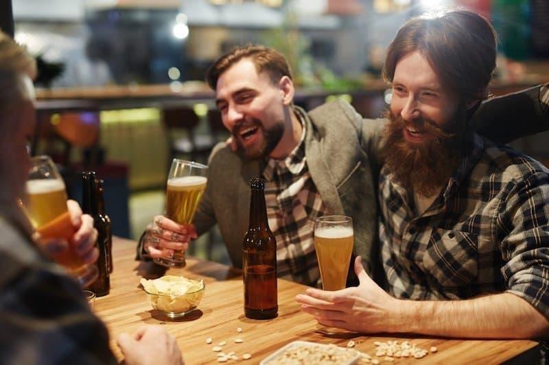 friends beer smiling