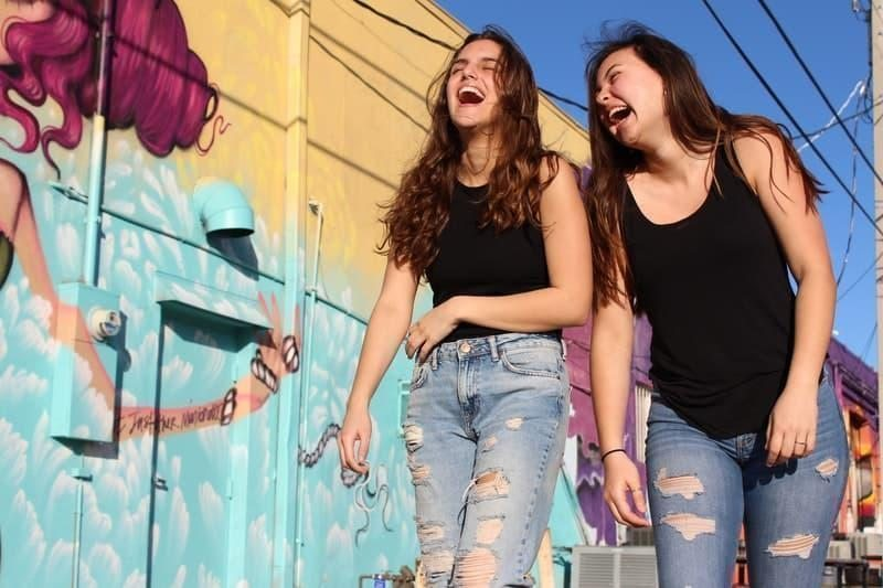 laughing girls friends