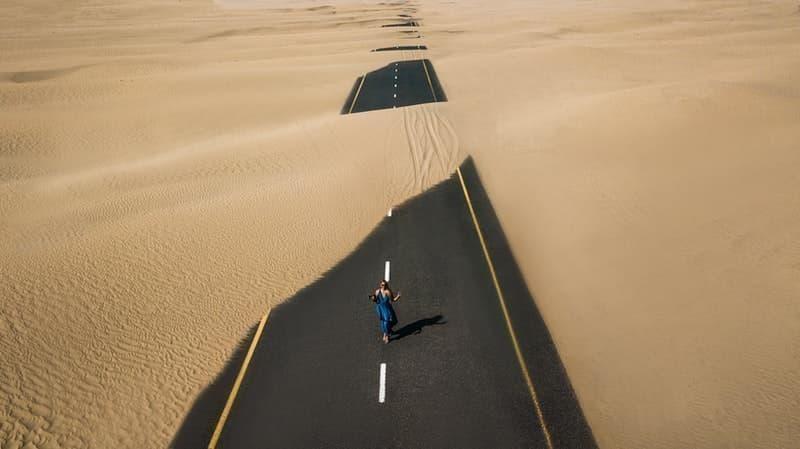 kum fırtına yol kadın
