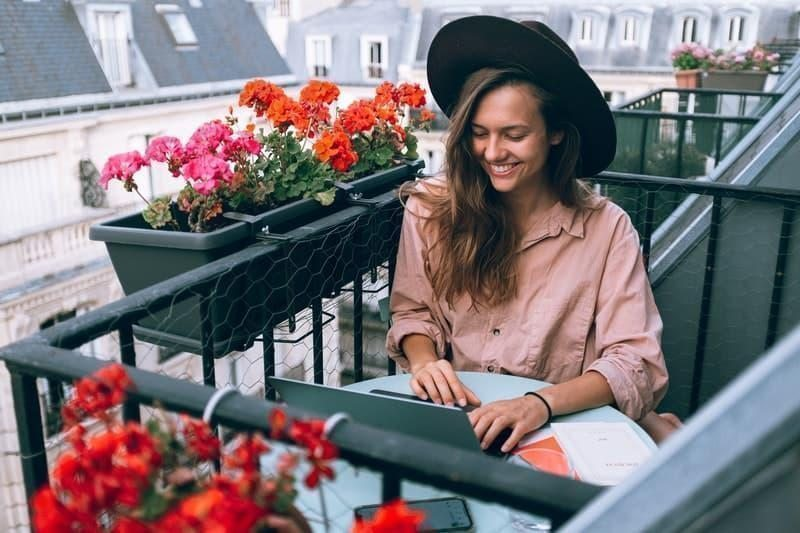 work balcony woman