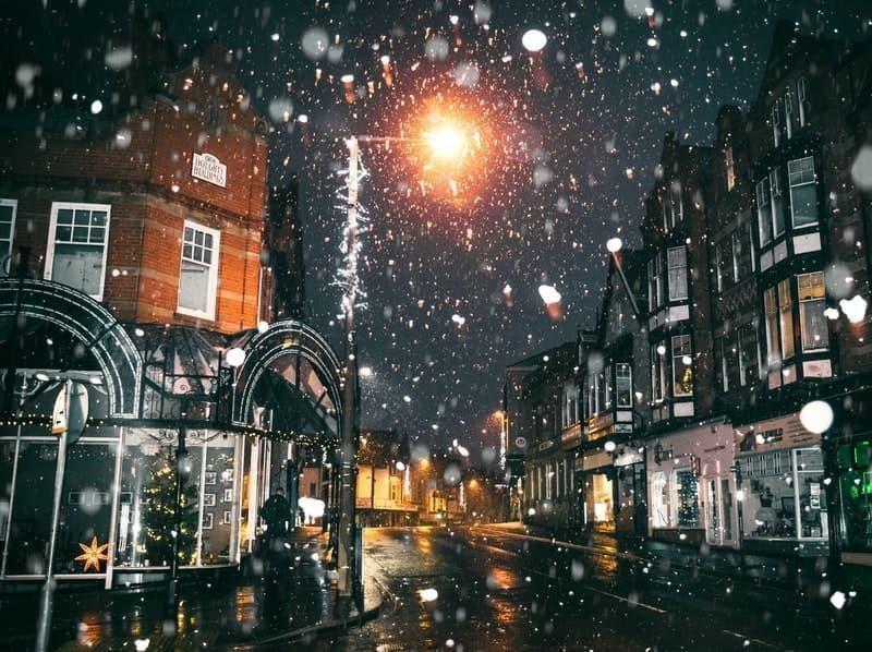 kış şehir ışıklar gece